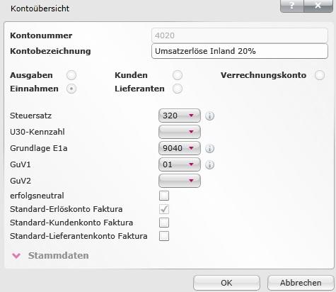Korrekte Zuordnung des Standard-Erlöskontos - ProSaldo.net