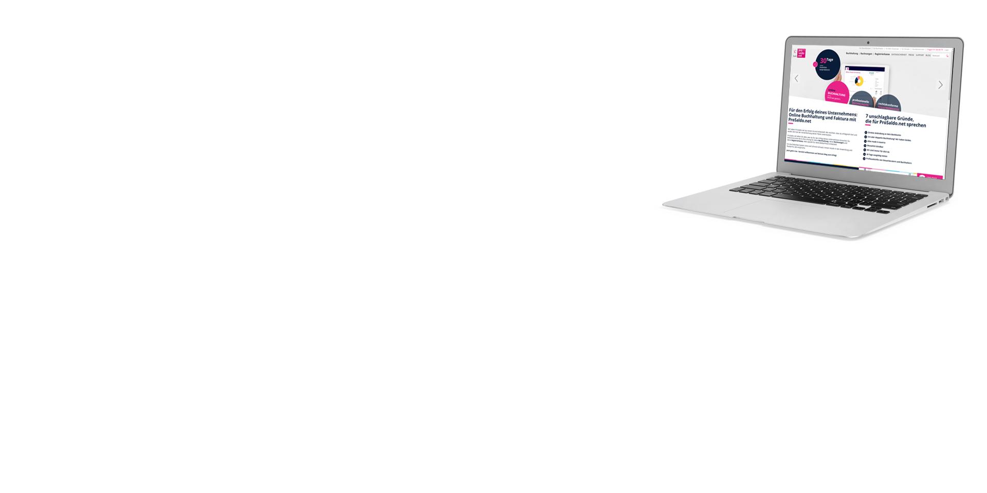 Laptop mit geöffnetem Browser und Webseite