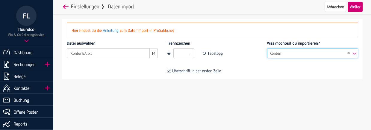 Schritt 2 - Datenimport