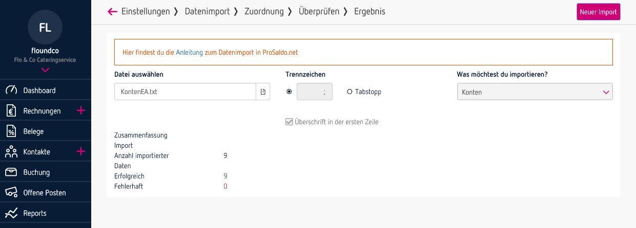 Zusammenfassung - Datenimport