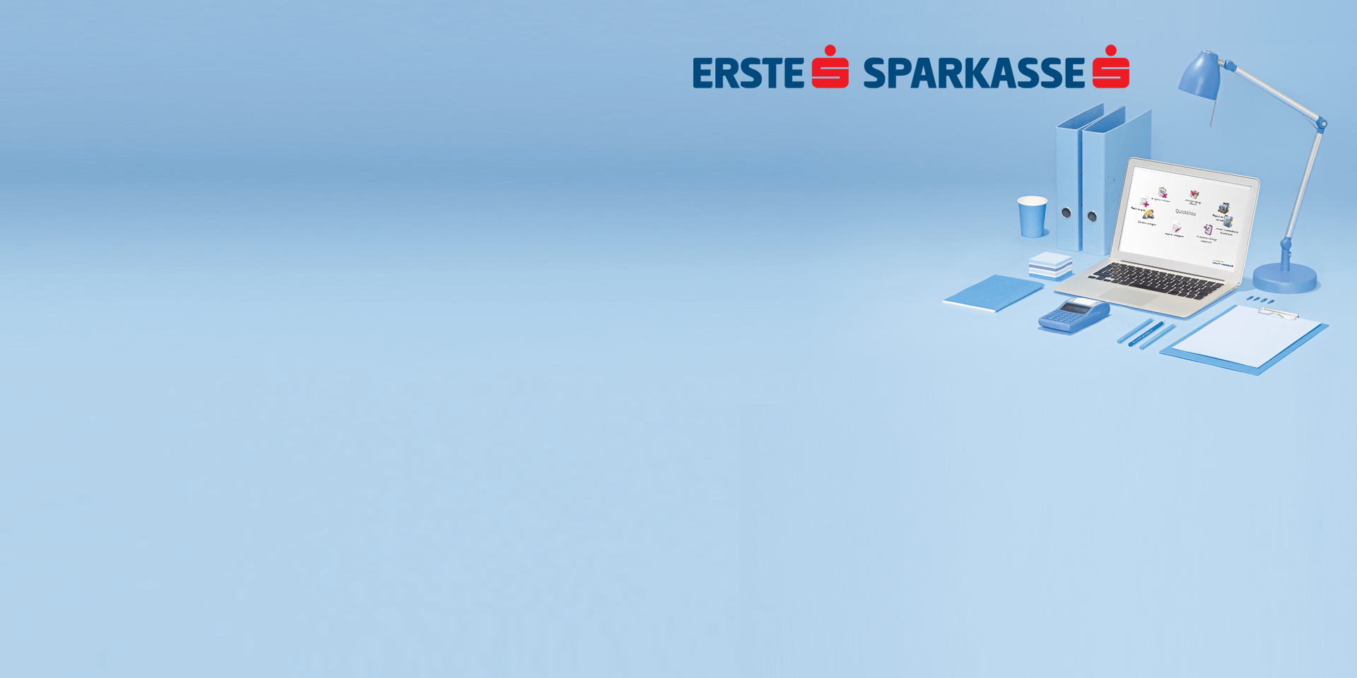 Logos der Erste Bank und Sparkasse mit Laptop und Schreibtischausstattung