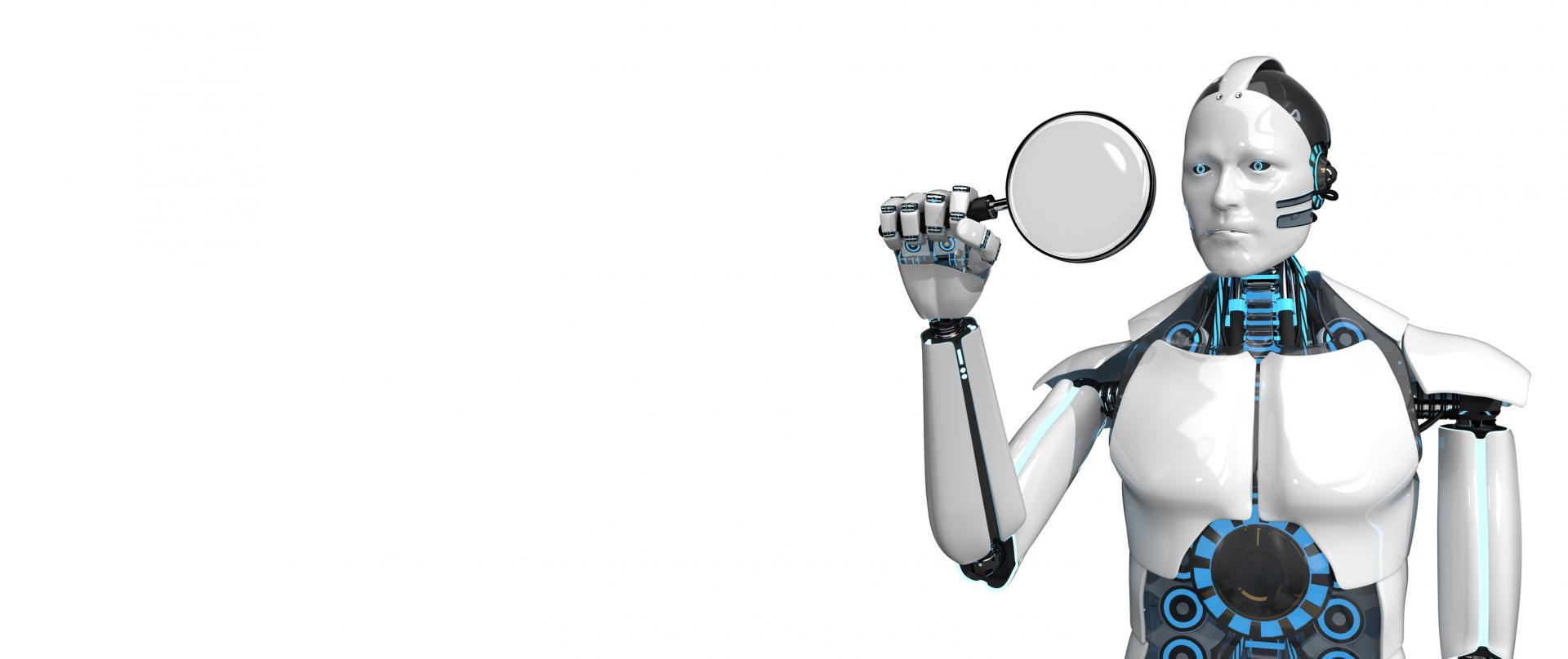 Roboter mit Lupe auf einem weißen Hintergrund